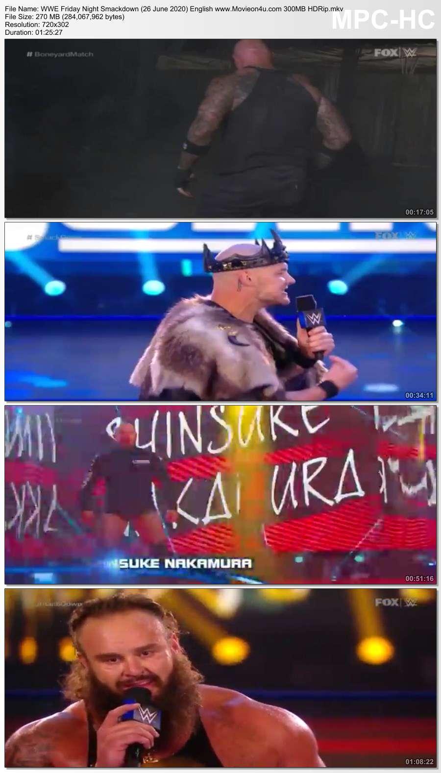 WWE Friday Night Smackdown (26 June 2020) English 300MB HDRip x264 480p Download HD