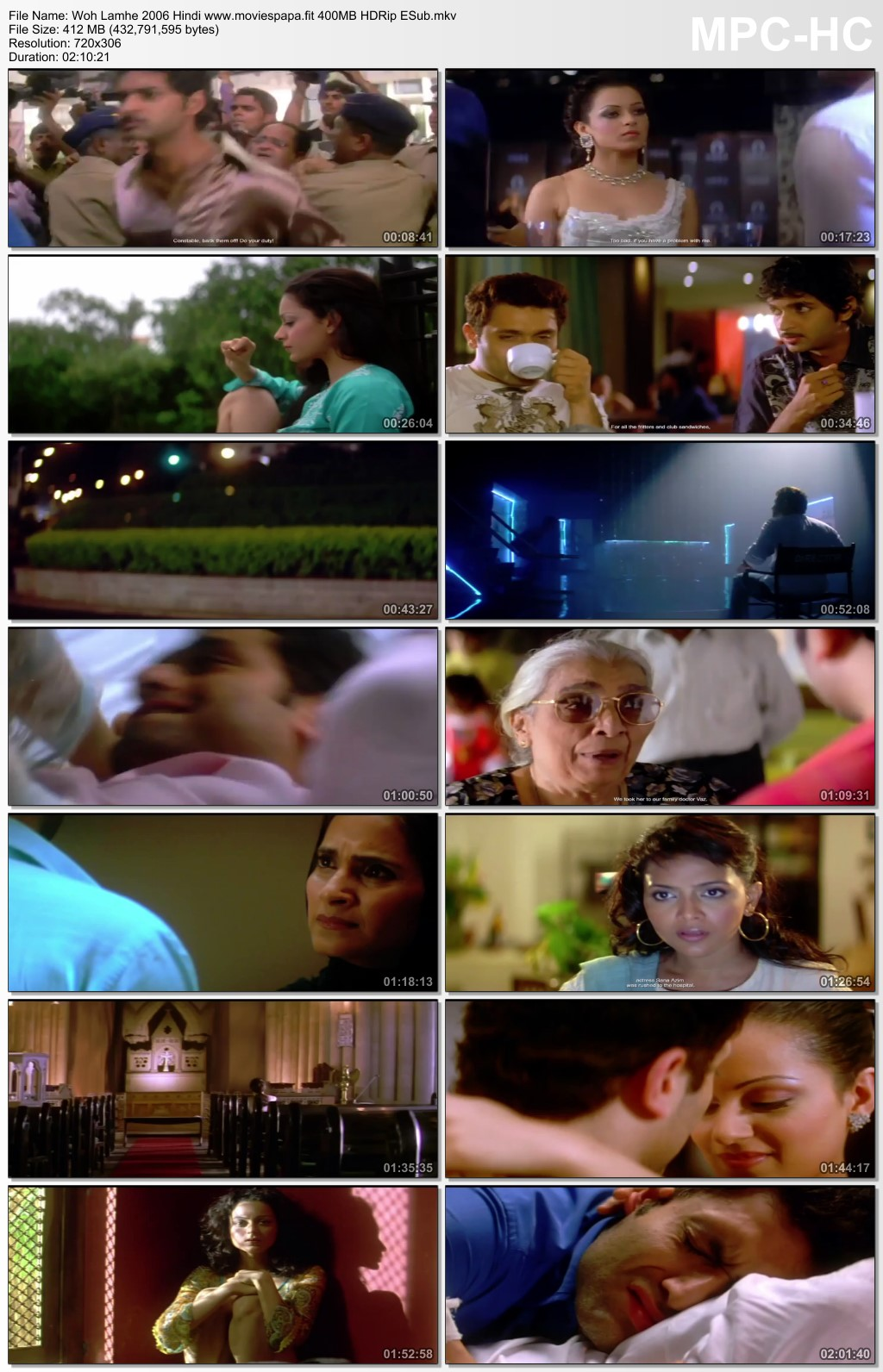 Woh Lamhe 2006 Hindi Movie 450MB HDRip Download