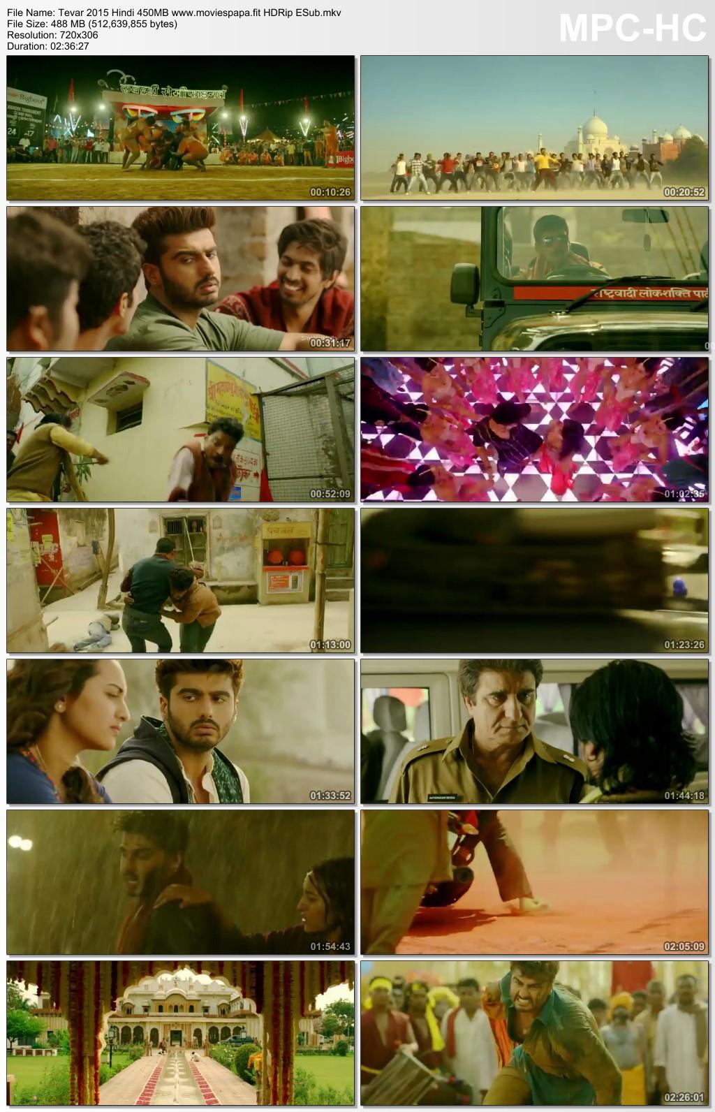 Tevar 2015 Hindi Movie 500MB HDRip ESub Download