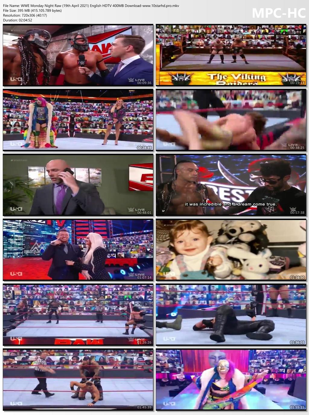 WWE Monday Night Raw (19th April 2021) English HDTV 395MB ...
